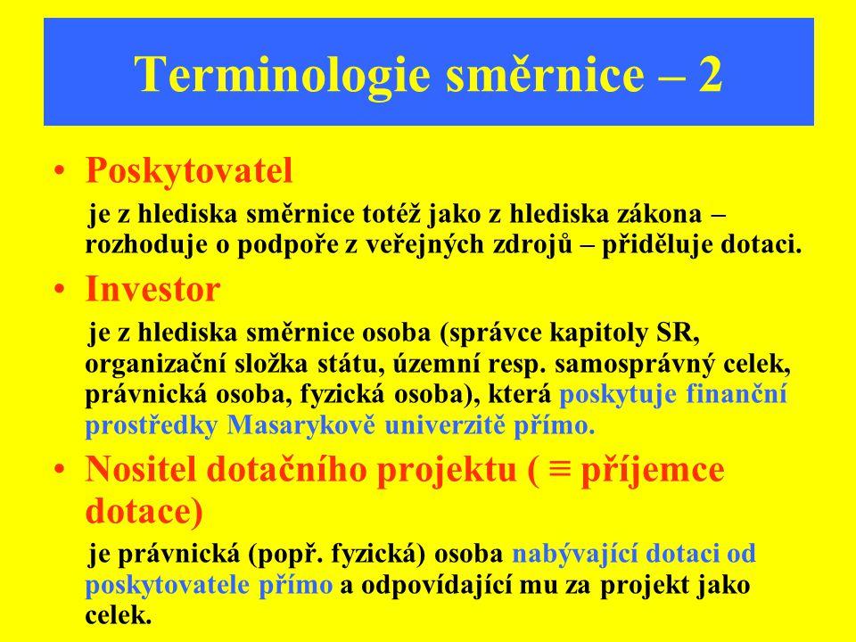 Terminologie směrnice – 2