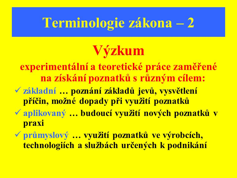 Terminologie zákona – 2 Výzkum