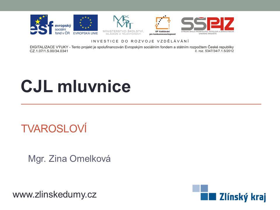CJL mluvnice Tvarosloví Mgr. Zina Omelková www.zlinskedumy.cz