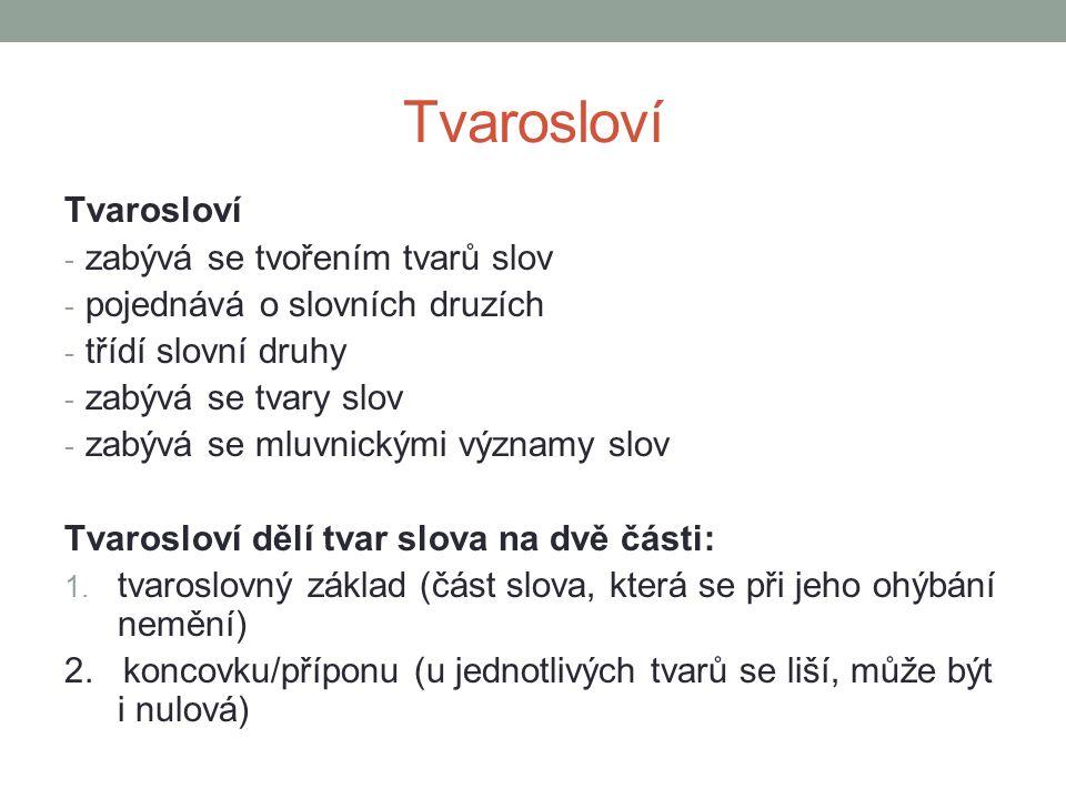 Tvarosloví Tvarosloví zabývá se tvořením tvarů slov