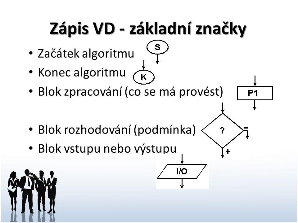 Zápis VD - základní značky
