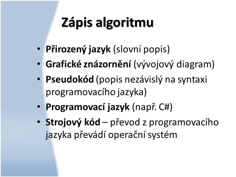 Zápis algoritmu Přirozený jazyk (slovní popis)