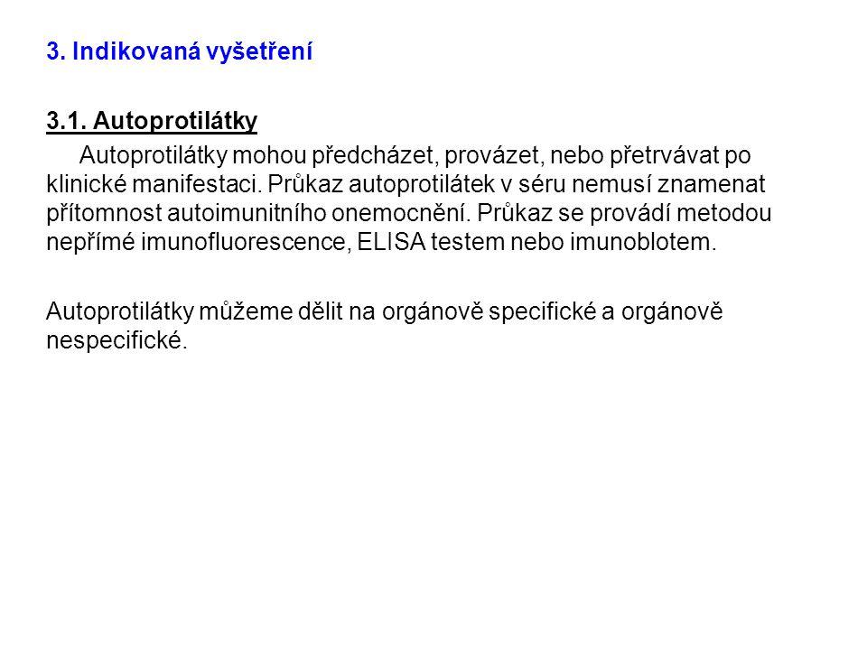 3. Indikovaná vyšetření 3.1. Autoprotilátky.