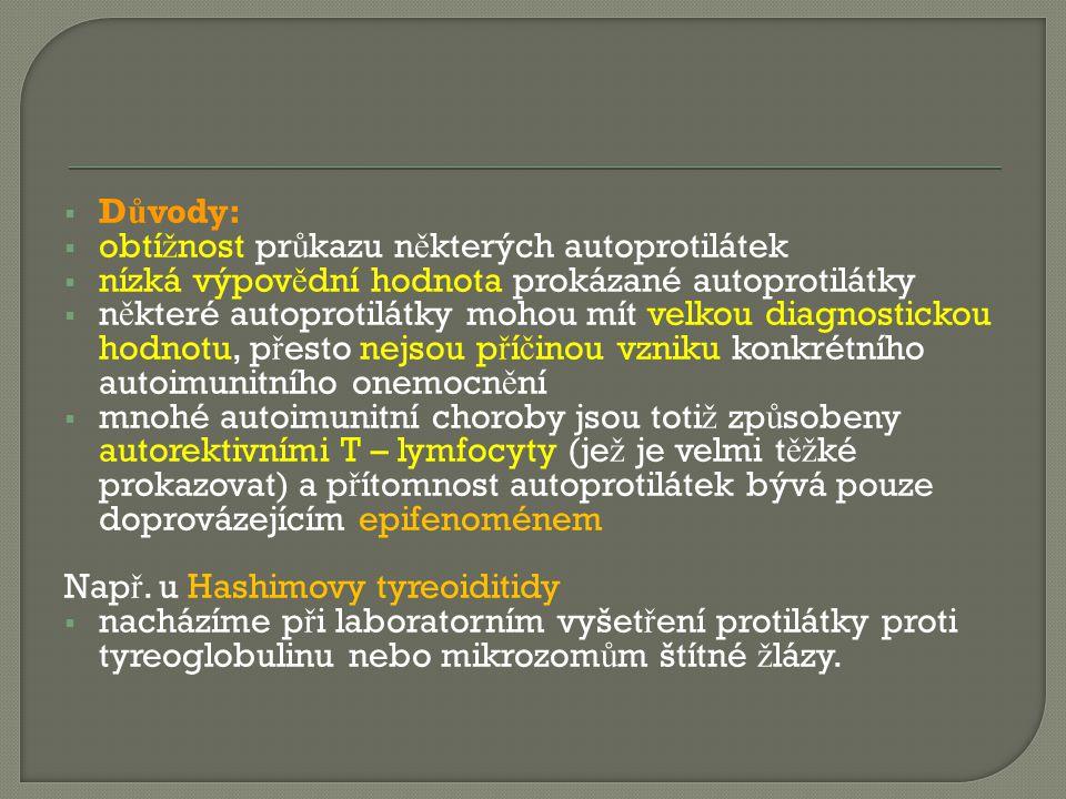 Důvody: obtížnost průkazu některých autoprotilátek. nízká výpovědní hodnota prokázané autoprotilátky.