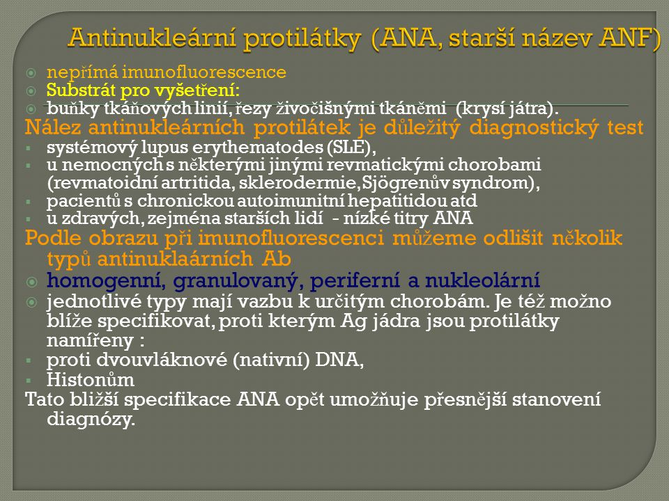 Antinukleární protilátky (ANA, starší název ANF)