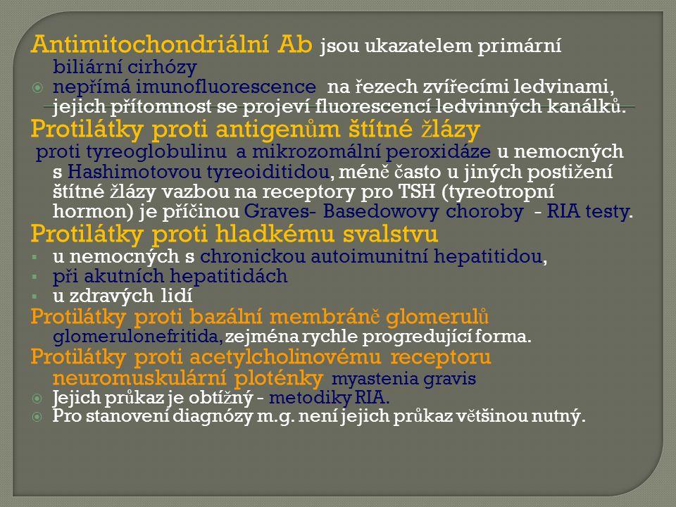 Antimitochondriální Ab jsou ukazatelem primární biliární cirhózy