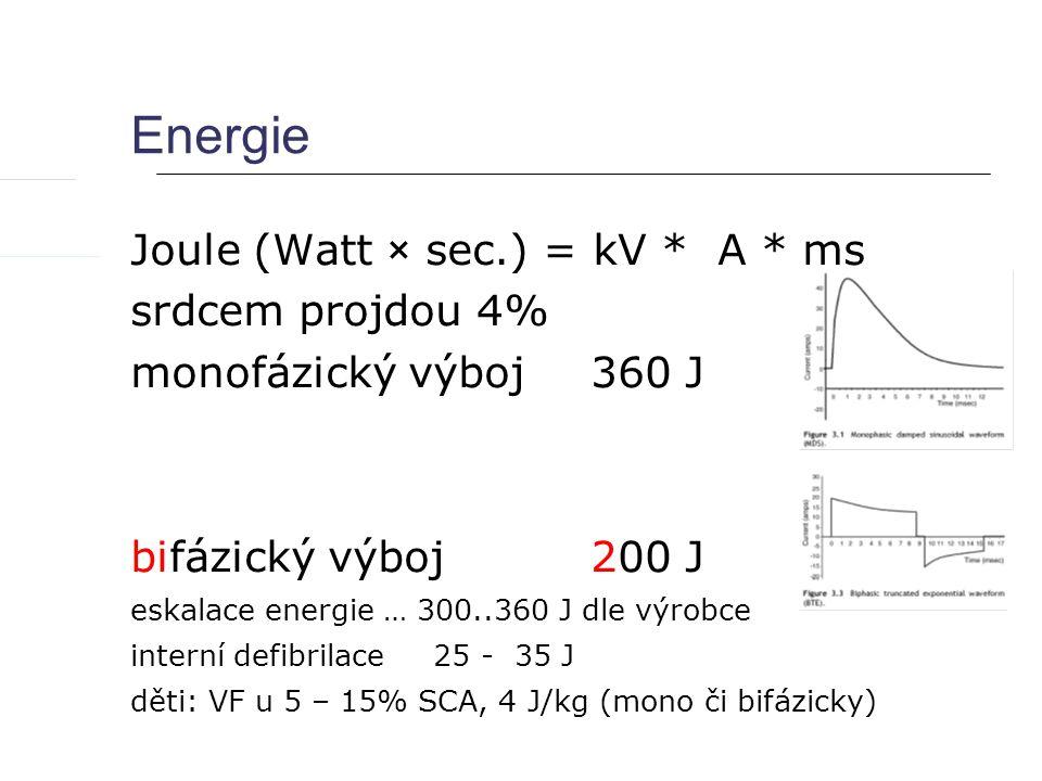 Energie Joule (Watt × sec.) = kV * A * ms srdcem projdou 4%