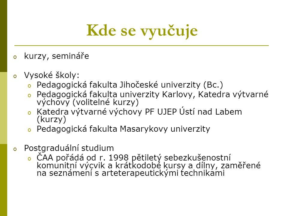 Kde se vyučuje kurzy, semináře Vysoké školy: