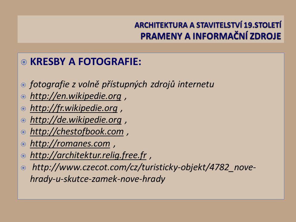 ARCHITEKTURA A STAVITELSTVÍ 19.STOLETÍ PRAMENY A INFORMAČNÍ ZDROJE