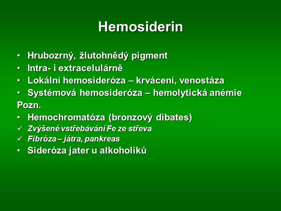 Hemosiderin Hrubozrný, žlutohnědý pigment Intra- i extracelulárně
