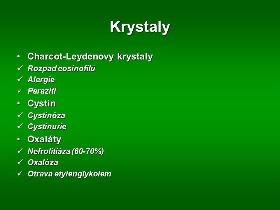 Krystaly Charcot-Leydenovy krystaly Cystin Oxaláty Rozpad eosinofilů