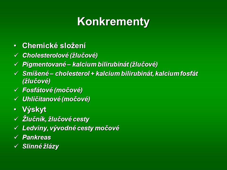 Konkrementy Chemické složení Výskyt Cholesterolové (žlučové)