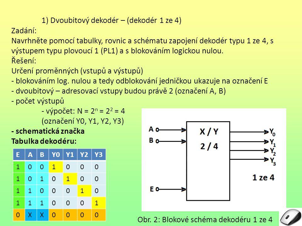1) Dvoubitový dekodér – (dekodér 1 ze 4)