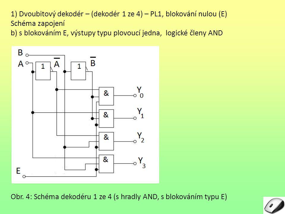 1) Dvoubitový dekodér – (dekodér 1 ze 4) – PL1, blokování nulou (E)