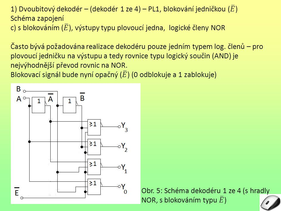 1) Dvoubitový dekodér – (dekodér 1 ze 4) – PL1, blokování jedničkou ( 𝐸 )
