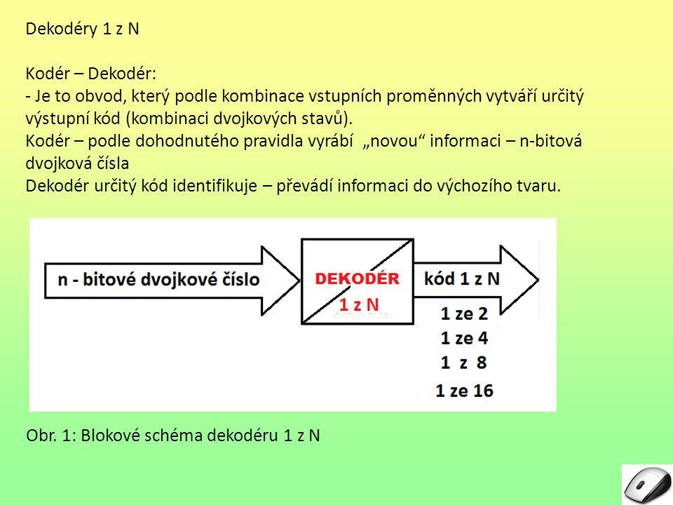 Dekodéry 1 z N Kodér – Dekodér: - Je to obvod, který podle kombinace vstupních proměnných vytváří určitý výstupní kód (kombinaci dvojkových stavů).