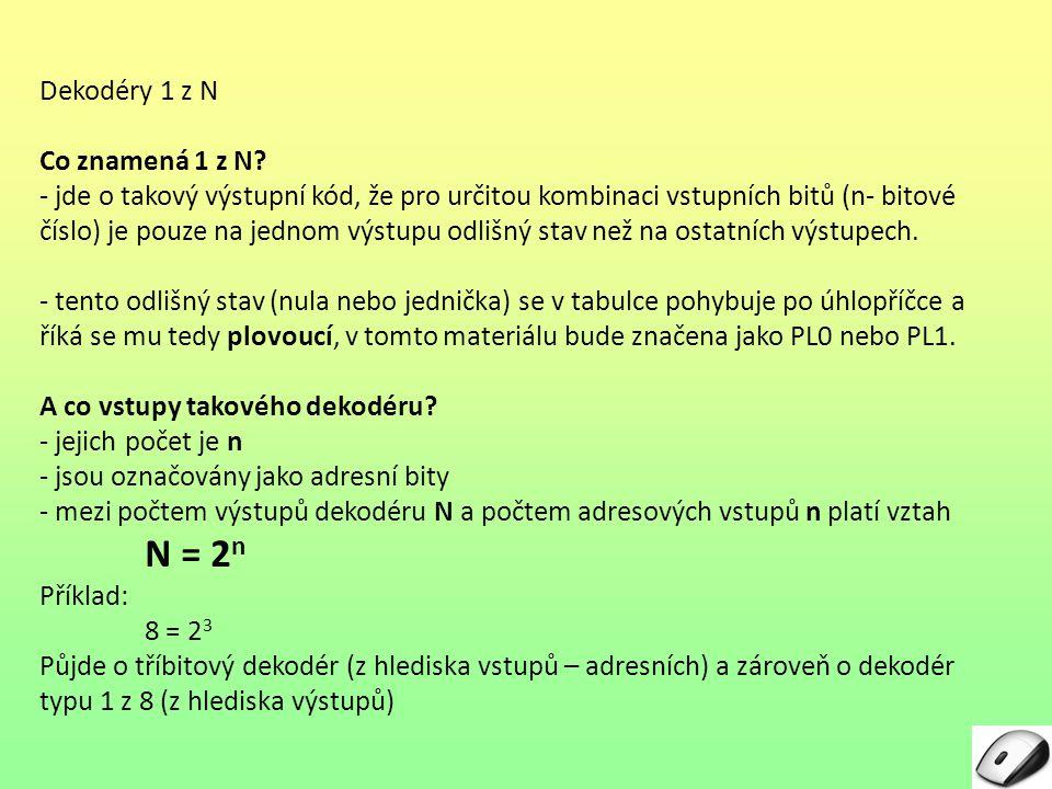N = 2n Dekodéry 1 z N Co znamená 1 z N