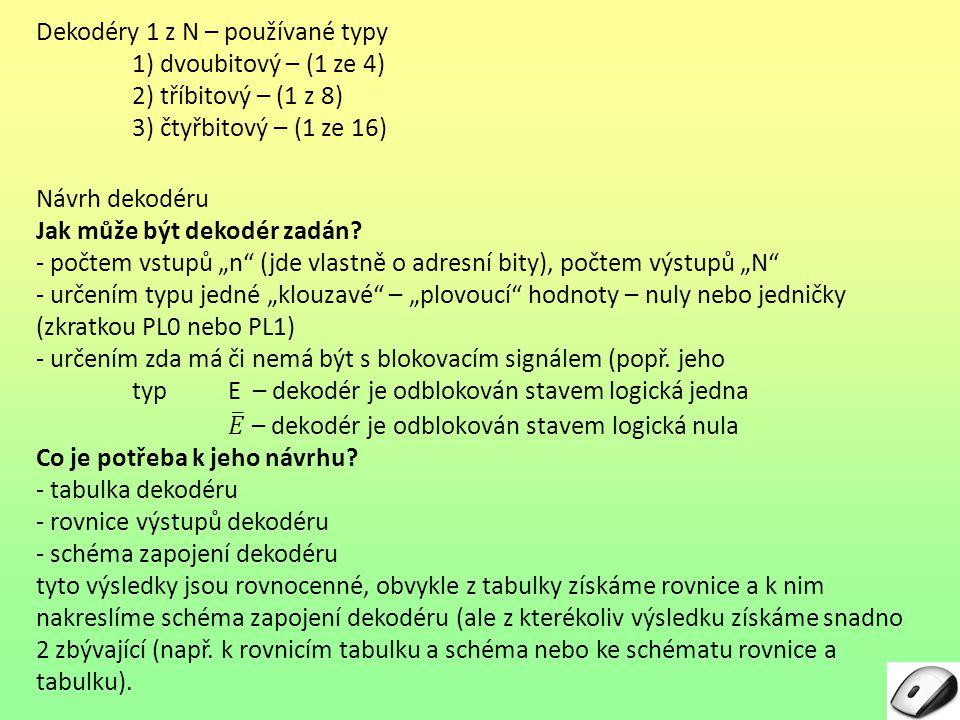 Dekodéry 1 z N – používané typy