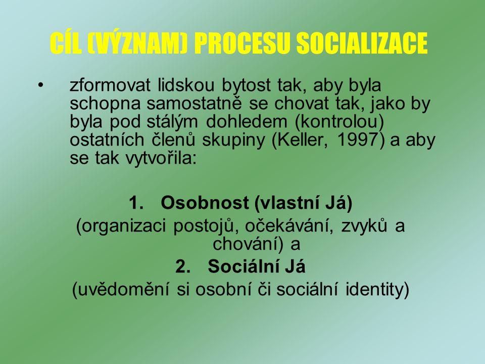 CÍL (VÝZNAM) PROCESU SOCIALIZACE