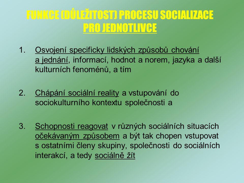 FUNKCE (DŮLEŽITOST) PROCESU SOCIALIZACE PRO JEDNOTLIVCE