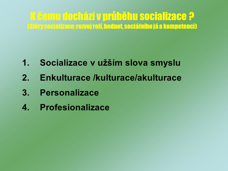 K čemu dochází v průběhu socializace