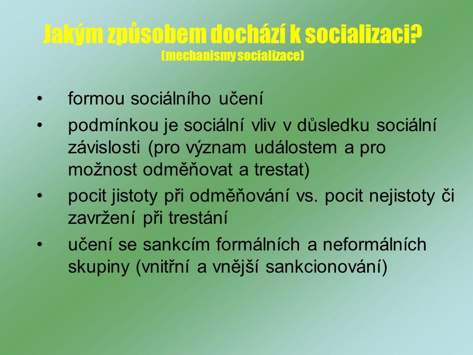 Jakým způsobem dochází k socializaci (mechanismy socializace)