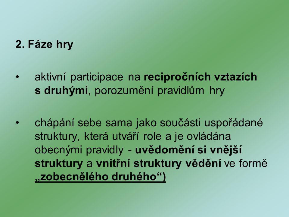 2. Fáze hry aktivní participace na recipročních vztazích s druhými, porozumění pravidlům hry.