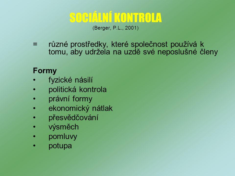 SOCIÁLNÍ KONTROLA (Berger, P.L., 2001)