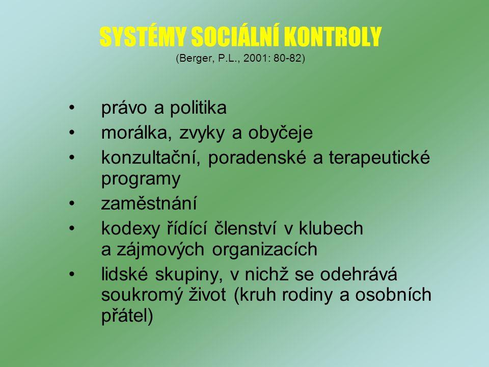 SYSTÉMY SOCIÁLNÍ KONTROLY (Berger, P.L., 2001: 80-82)