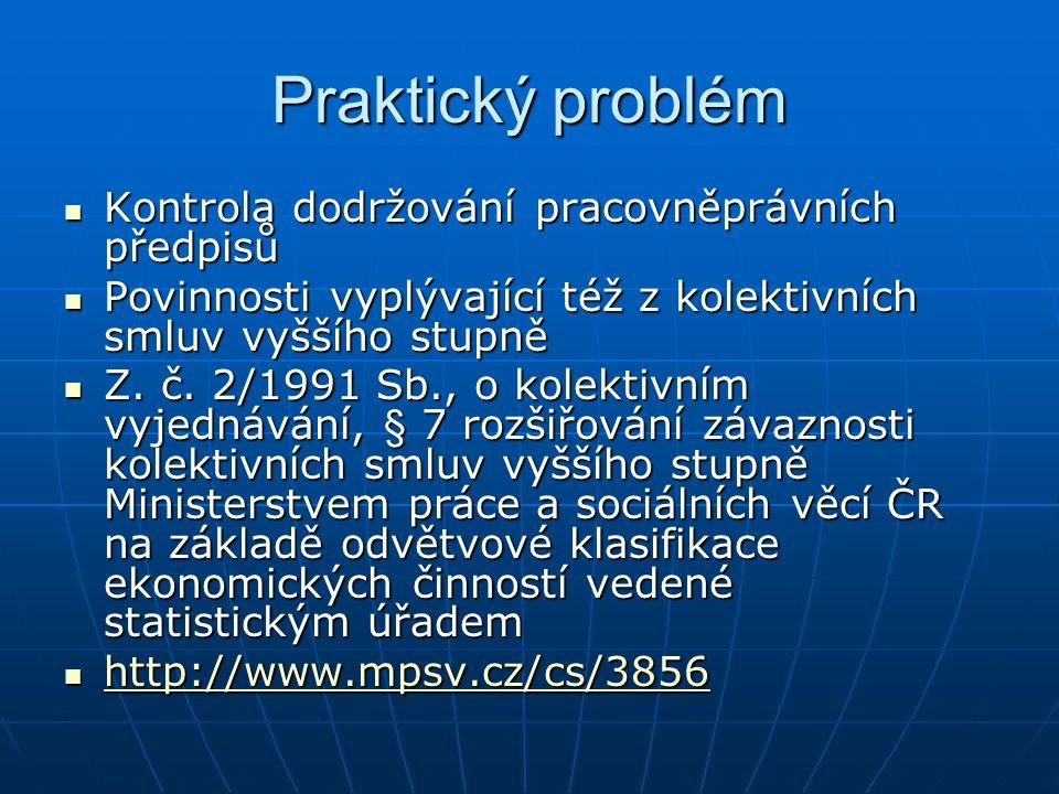 Praktický problém Kontrola dodržování pracovněprávních předpisů
