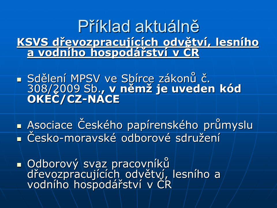 Příklad aktuálně KSVS dřevozpracujících odvětví, lesního a vodního hospodářství v ČR.