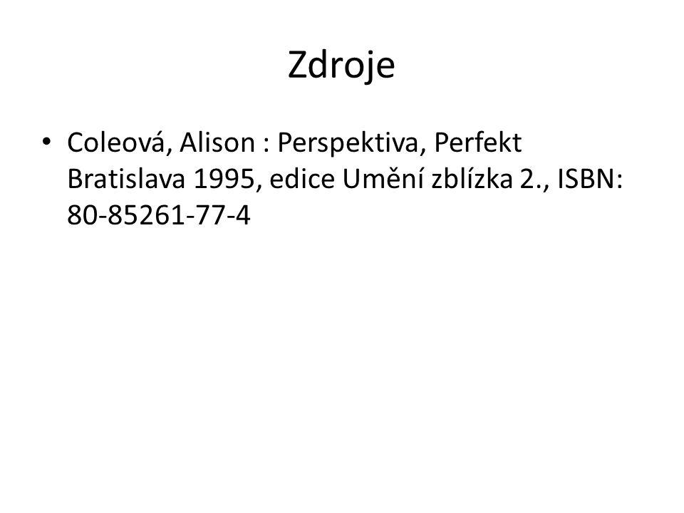 Zdroje Coleová, Alison : Perspektiva, Perfekt Bratislava 1995, edice Umění zblízka 2., ISBN: 80-85261-77-4.
