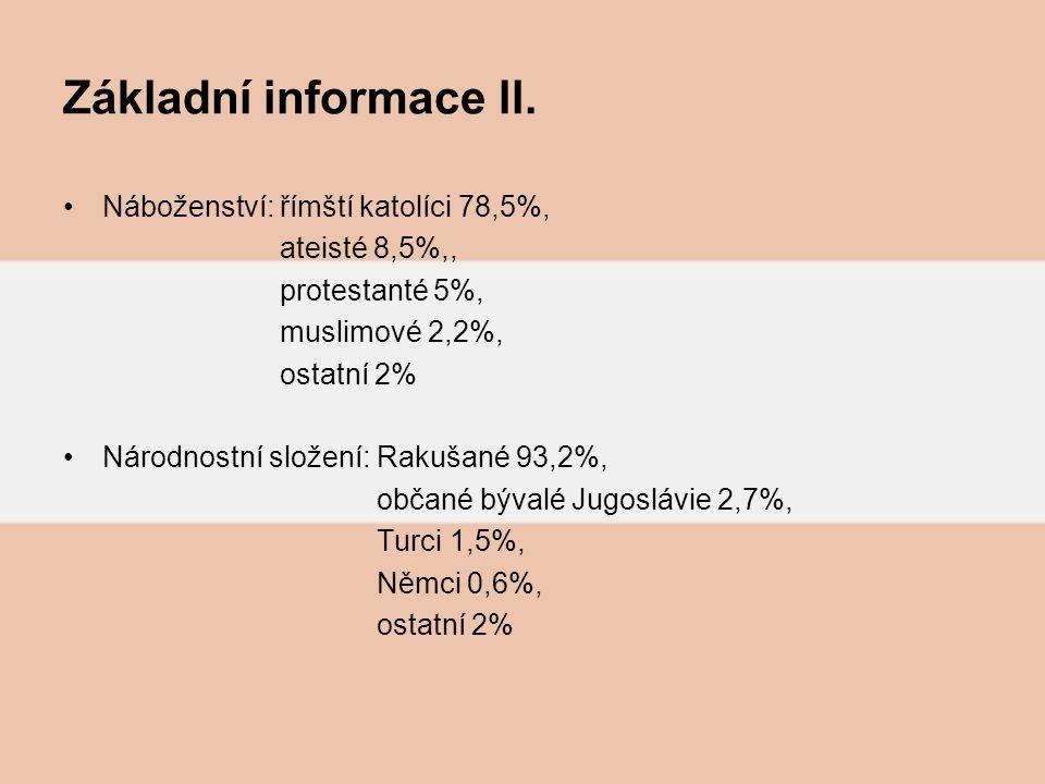 Základní informace ll. Náboženství: římští katolíci 78,5%,