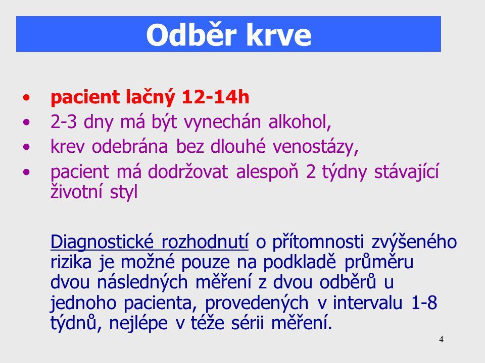 Odběr krve pacient lačný 12-14h 2-3 dny má být vynechán alkohol,
