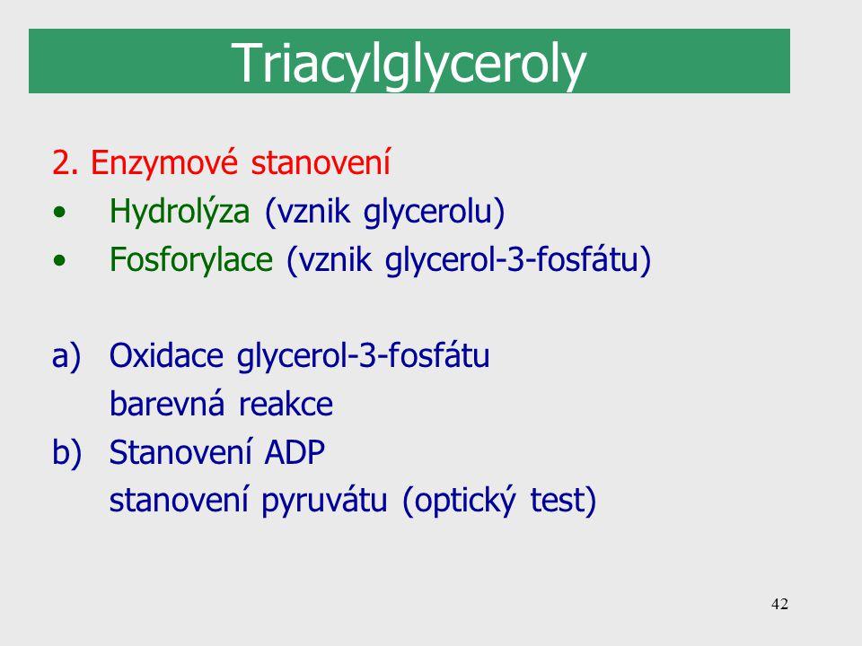 Triacylglyceroly 2. Enzymové stanovení Hydrolýza (vznik glycerolu)