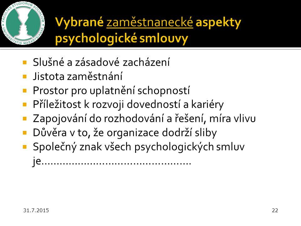 Vybrané zaměstnanecké aspekty psychologické smlouvy