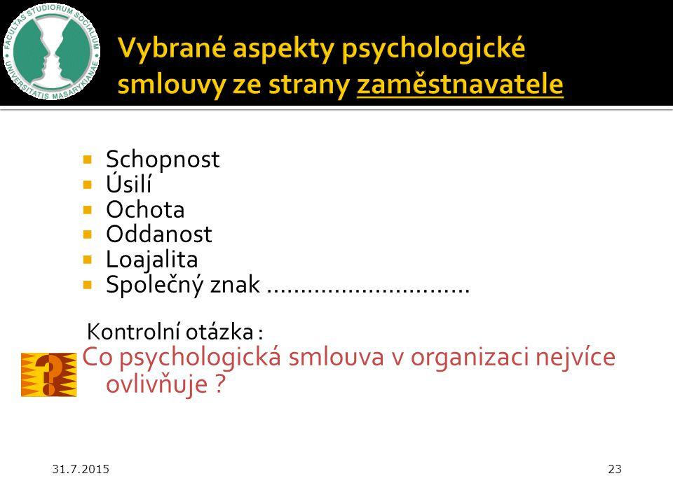 Vybrané aspekty psychologické smlouvy ze strany zaměstnavatele
