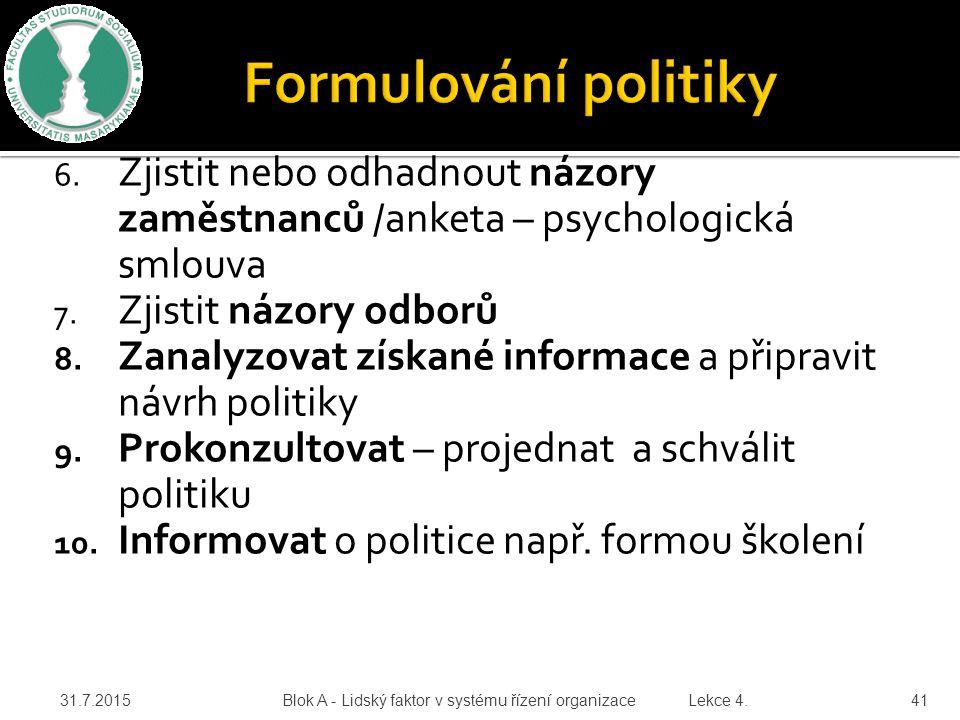 Formulování politiky Zjistit nebo odhadnout názory zaměstnanců /anketa – psychologická smlouva. Zjistit názory odborů.