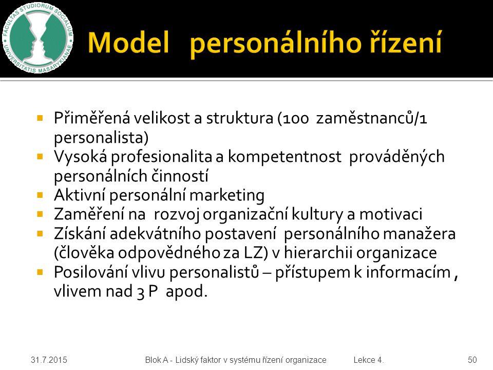 Model personálního řízení
