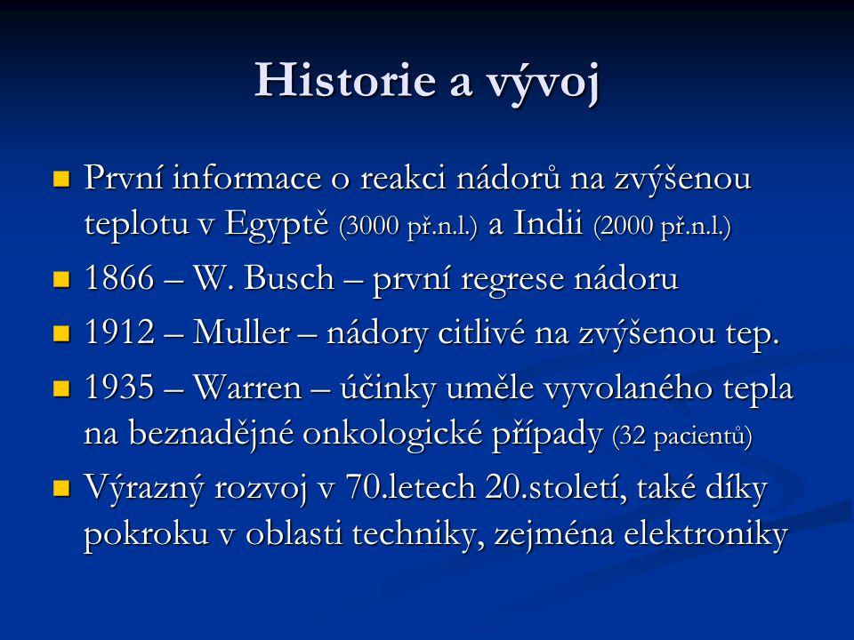 Historie a vývoj První informace o reakci nádorů na zvýšenou teplotu v Egyptě (3000 př.n.l.) a Indii (2000 př.n.l.)