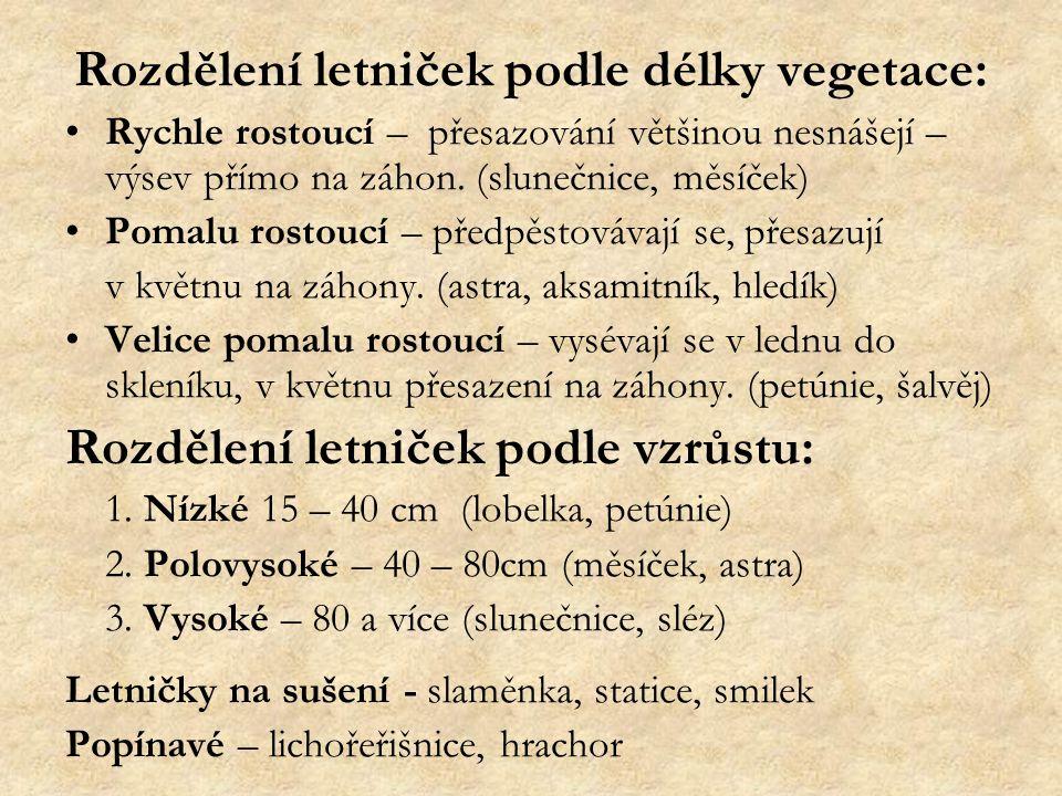 Rozdělení letniček podle délky vegetace:
