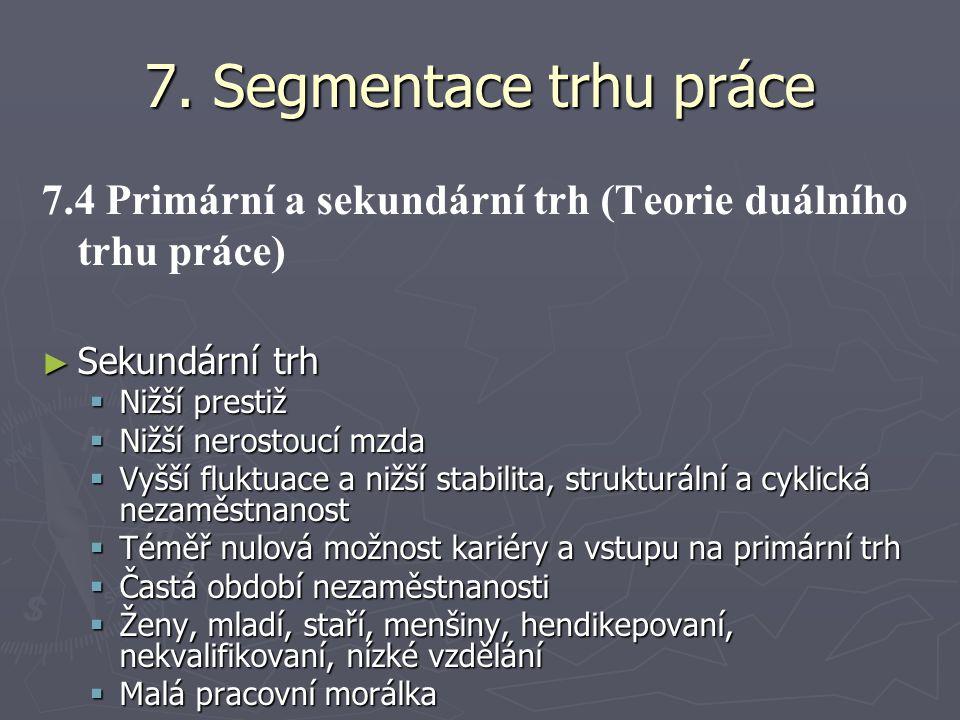 7. Segmentace trhu práce 7.4 Primární a sekundární trh (Teorie duálního trhu práce) Sekundární trh.