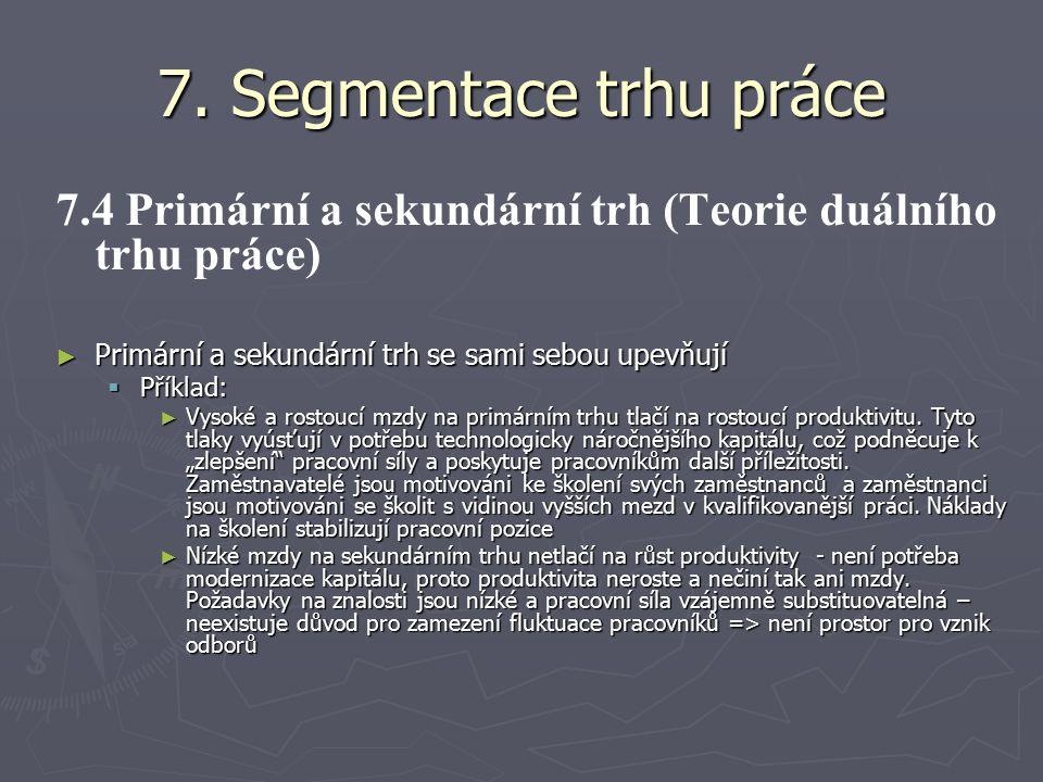 7. Segmentace trhu práce 7.4 Primární a sekundární trh (Teorie duálního trhu práce) Primární a sekundární trh se sami sebou upevňují.
