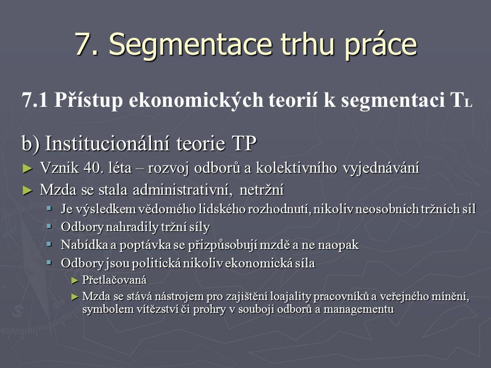 7. Segmentace trhu práce 7.1 Přístup ekonomických teorií k segmentaci TL. b) Institucionální teorie TP.