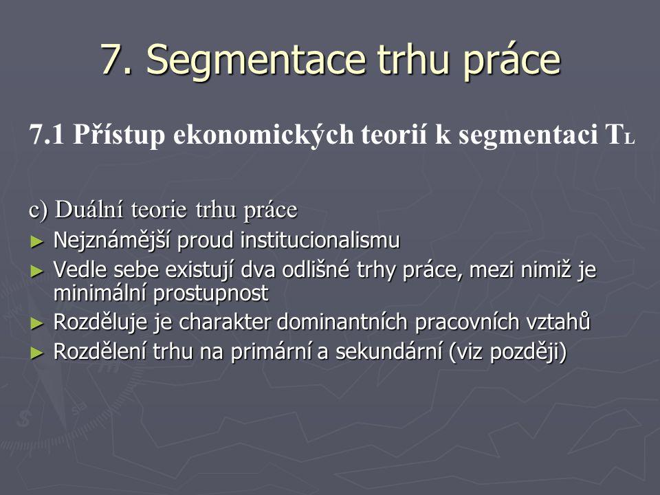 7. Segmentace trhu práce 7.1 Přístup ekonomických teorií k segmentaci TL. c) Duální teorie trhu práce.