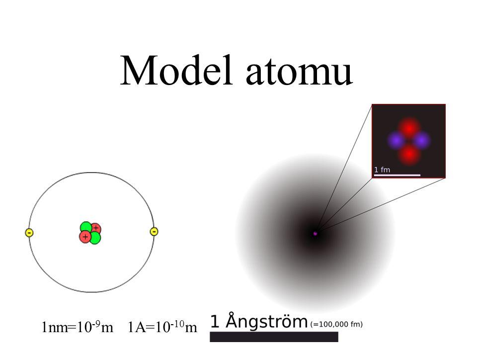 Model atomu 1nm=10-9m 1A=10-10m