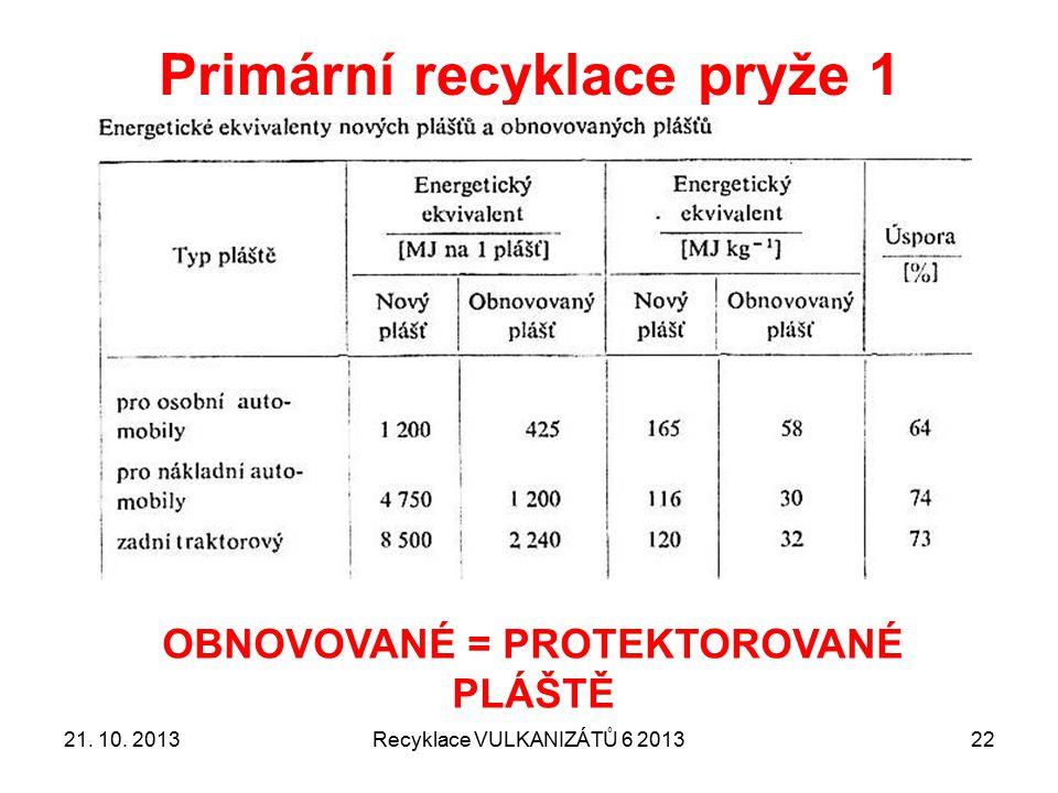 Primární recyklace pryže 1