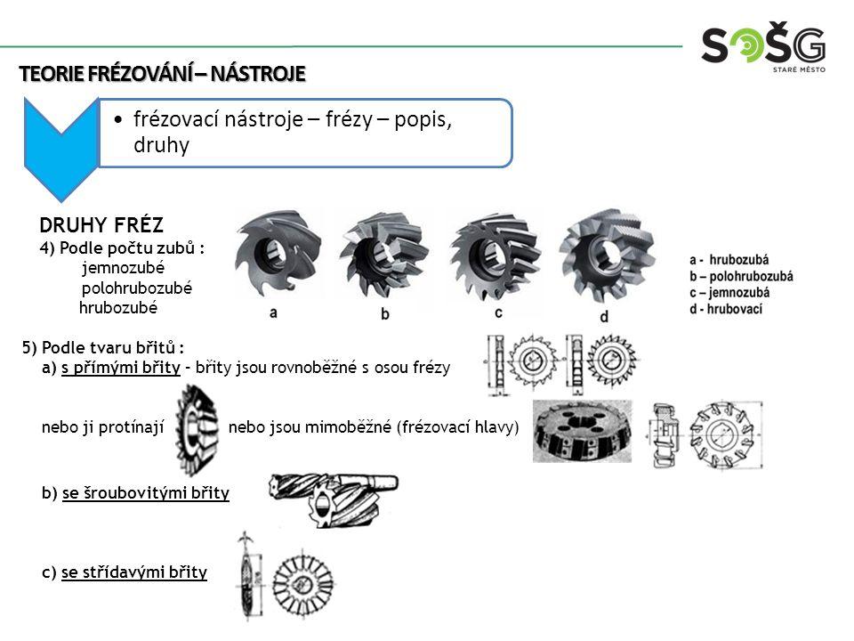 Teorie frézování – nástroje frézovací nástroje – frézy – popis, druhy