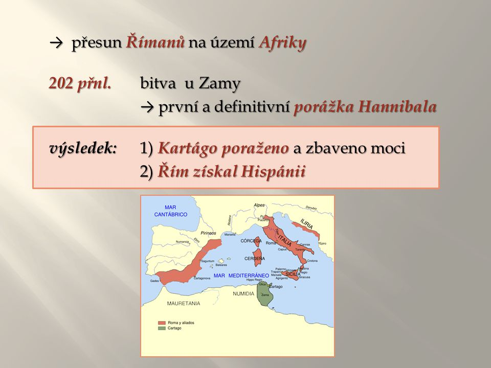 → přesun Římanů na území Afriky 202 přnl