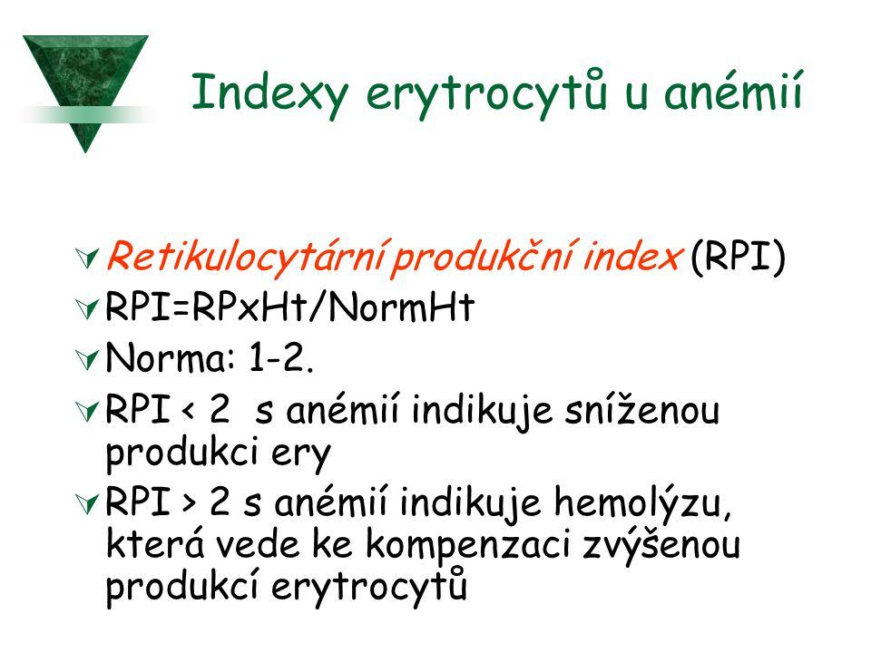 Indexy erytrocytů u anémií